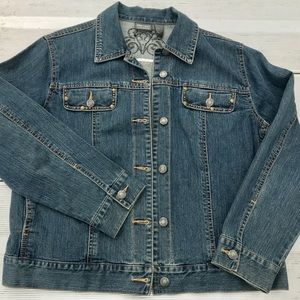 Chico's Additions Jean Jacket like new rivets L